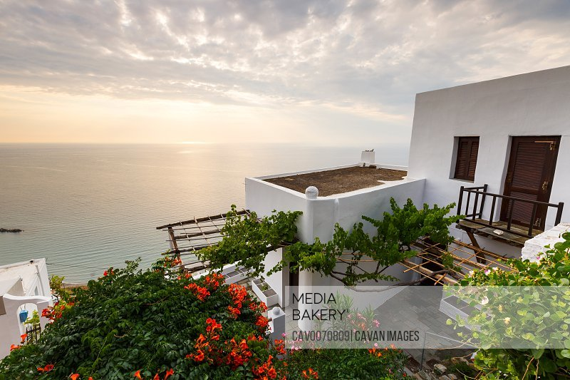 View of the sea from Chora village on Skyros island, Greece.