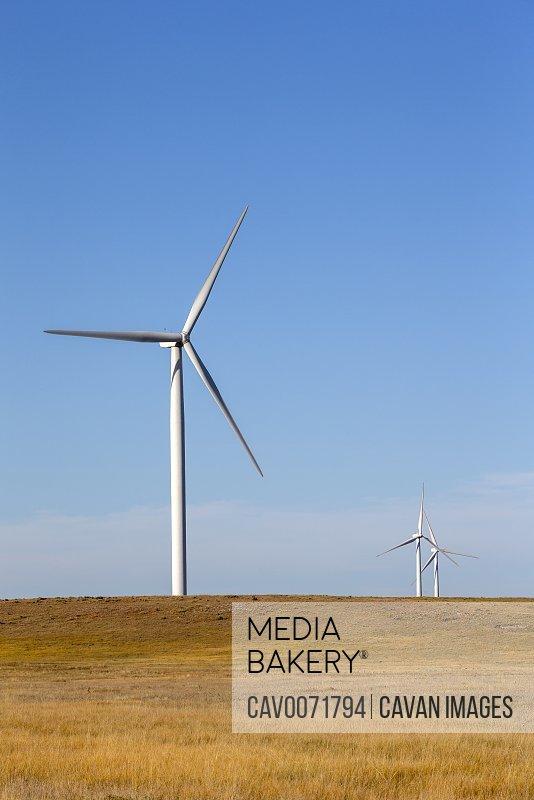 Wind Turbines in Colorado against blue sky