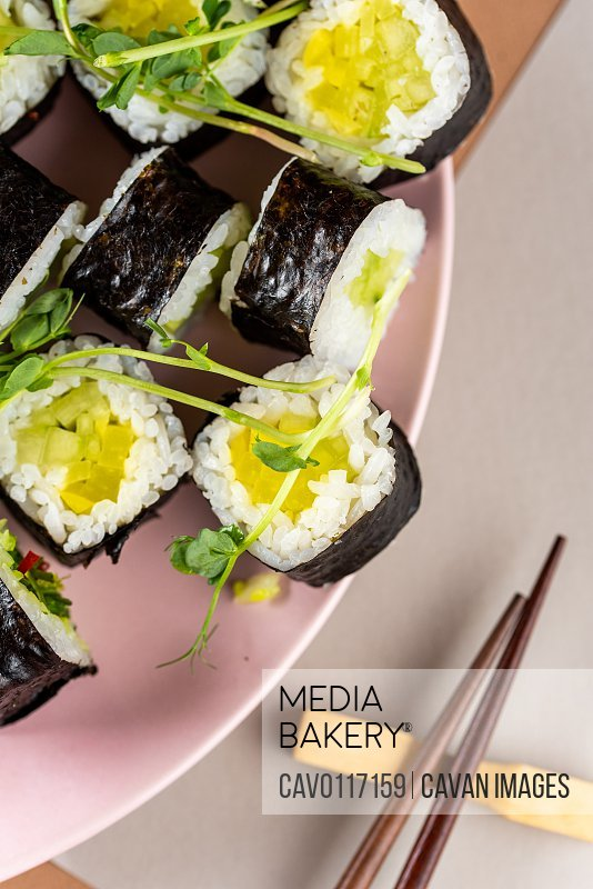 top view on classic Japanese food sushi