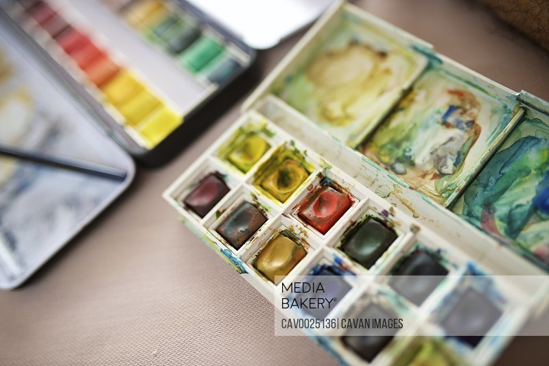 Close-up of a watercolor box.