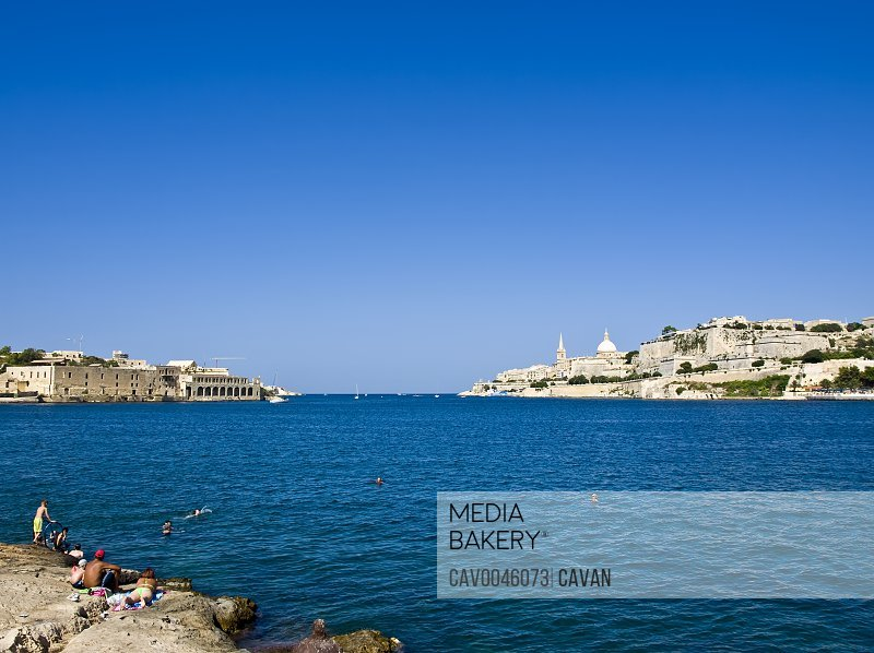 Valletta Skyline as seen from Marsamxett Harbour<br><br><span style='color: red'>Editorial Use Only.</span><br><br>