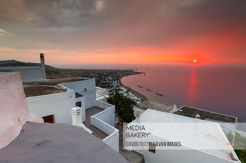View of Molos village from Chora, Skyros island, Greece.