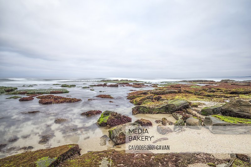 Coastal morning on a rocky beach and reef area. La Jolla, CA.