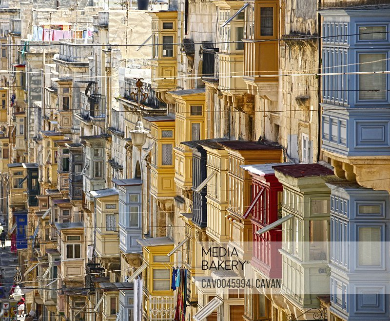 Old wooden traditional Maltese balconies