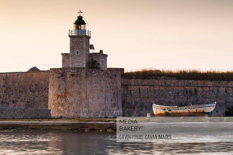 Early morning at Santa Maura castle in Lefkada island, Greece.