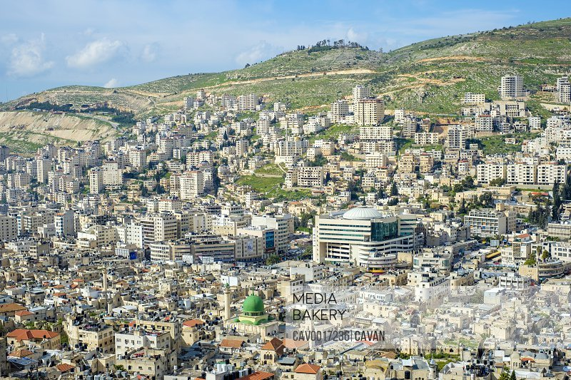 High-angle view of Nablus City, Nablus, West Bank, Palestine