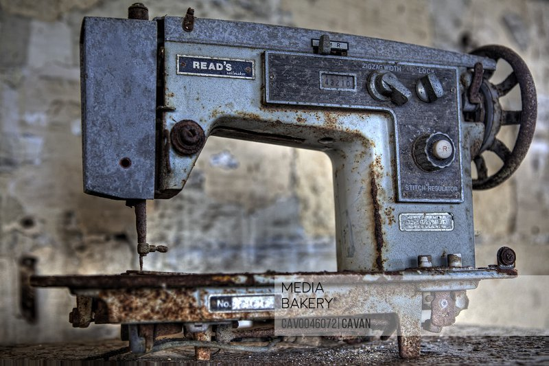 Ol abandoned Reads Sailmaker sewing machine<br><br><span style='color: red'>Editorial Use Only.</span><br><br>
