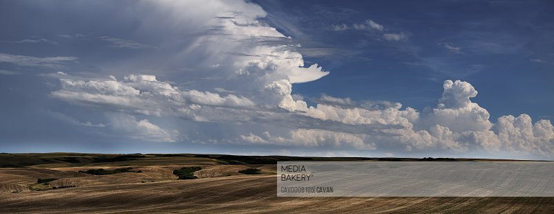 Summer storm clouds build up over the Canadian prairies