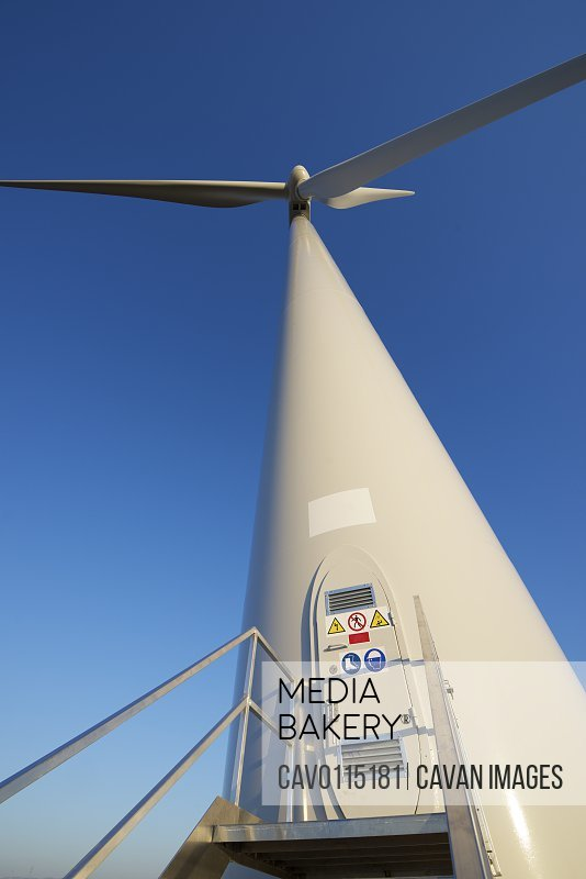 Entrance to a wind turbine for electric power production, Zaragoza province, Aragon in Spain.