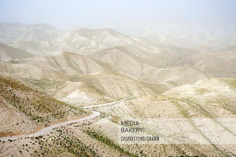 Judean Desert landscape during sandstorm, Wadi Quelt, Jericho, West Bank, Palestine