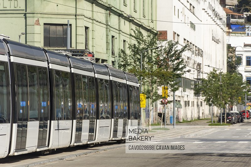Public transportation VLT tram in downtown area street