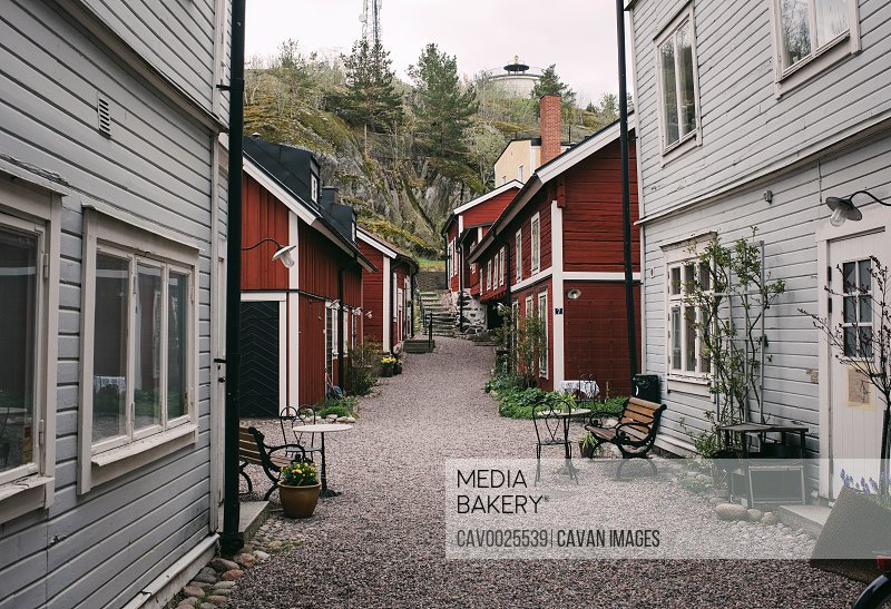 Traditional Swedish street of red wooden houses in Sweden
