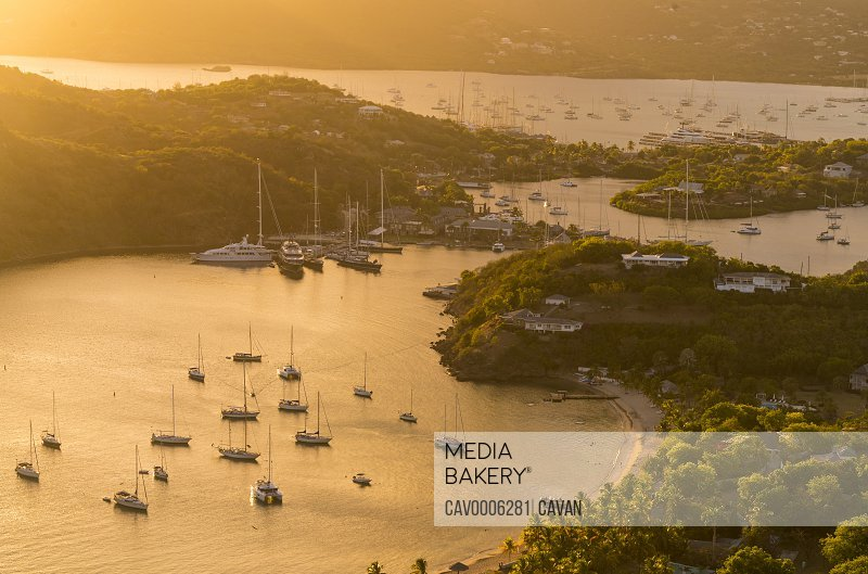 Sunset over English Harbour from Shirley Heights, Antigua, Caribbean