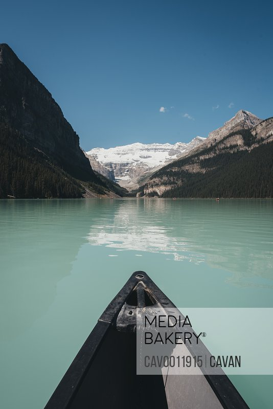 Canoeing on Lake Louise in Alberta,Canada from paddler's point of view