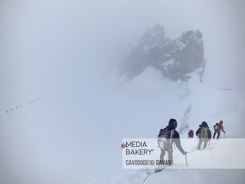 Climbers Descend Mount Rainier During a May Blizzard<br><br><span style='color: red'>Editorial Use Only.</span><br><br>
