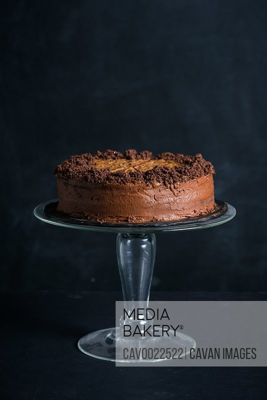 Chocolate cake on a stand in front of dark background