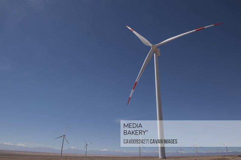wind farm in the remote Atacama desert in Chile