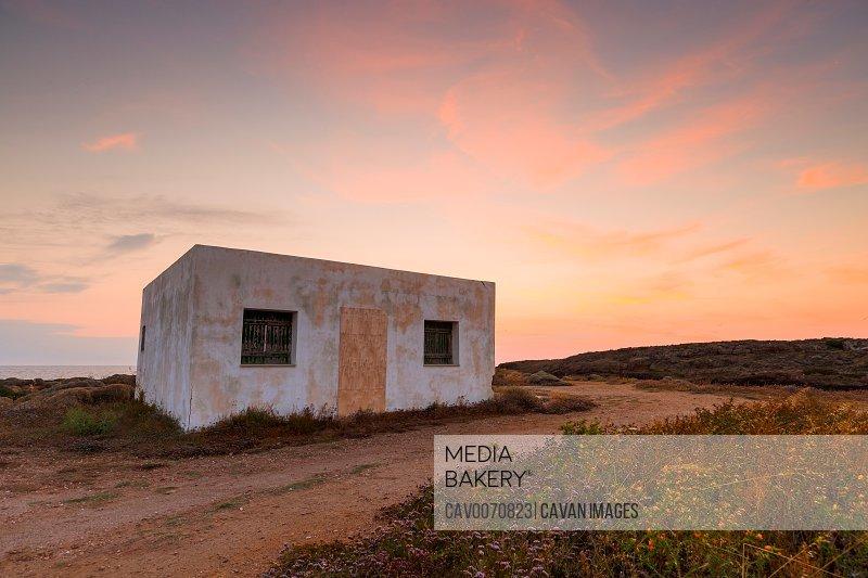 Abandoned building on the coast near Molos village on Skyros island.