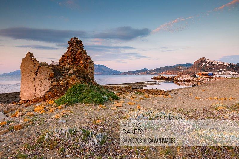 Ruin of a windmill near Molos village on Skyros island, Greece.