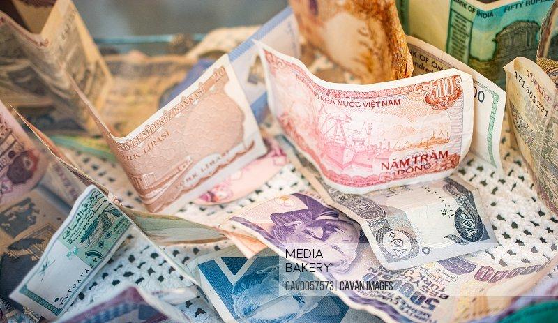 Various banknotes, mostly froma arab peninsula. Saudi riyal, Kuw
