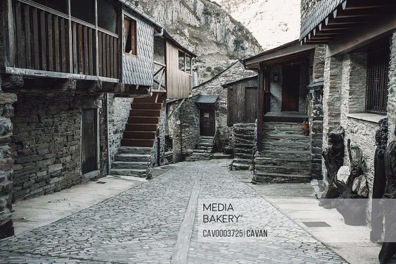 Streets of Santiago de PeA�alba, an old stone village in the mountains