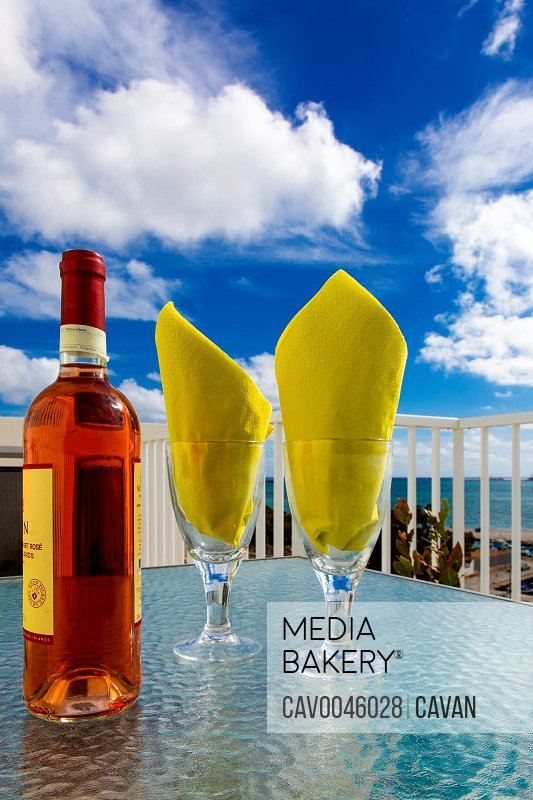 Mediterranean Rose' Wine and Blue Skies<br><br><span style='color: red'>Editorial Use Only.</span><br><br>
