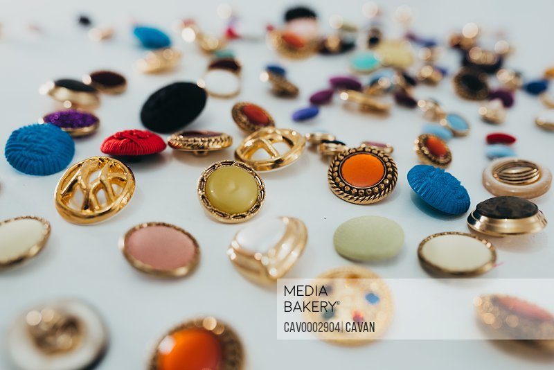 set of buttons of different colors and shapes