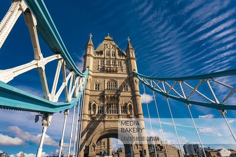 Tower bridge in London details with blue sky