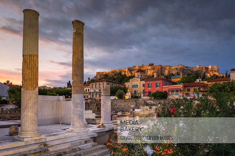 Remains of Hadrian's Library and Acropolis in the old town of Athens.