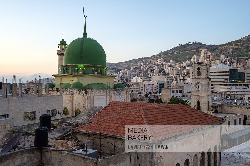 An-Nasr Mosque (Masjid an-Nasr) and buildings in old town, Nablus