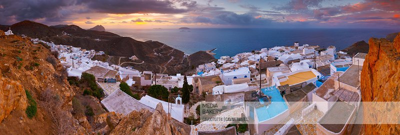 Panoramic view of Chora village on Anafi island in Greece.