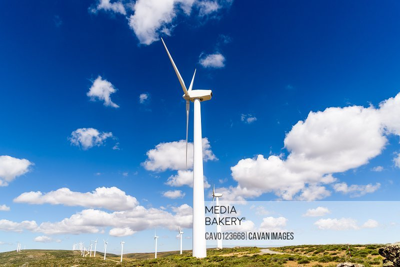 Wind turbines for power generation on hill against blue sky