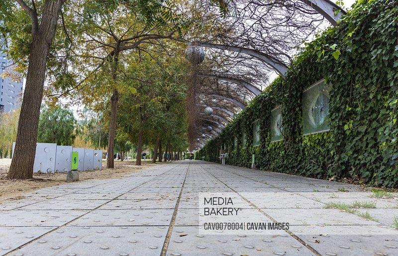 Urban public park in Barcelona
