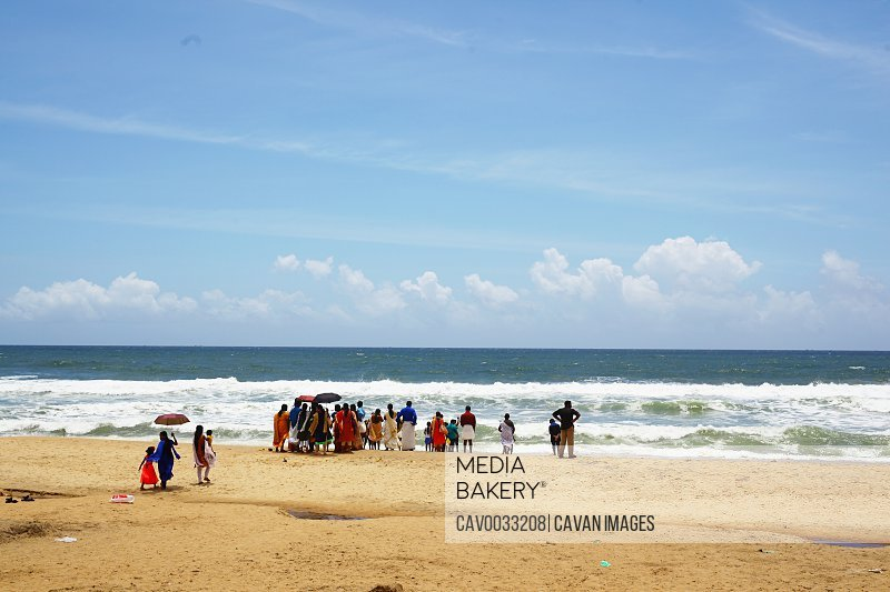 Funeral ceremony performed by local people on Varkala beach in Kerala<br><br><span style='color: red'>Editorial Use Only.</span><br><br>