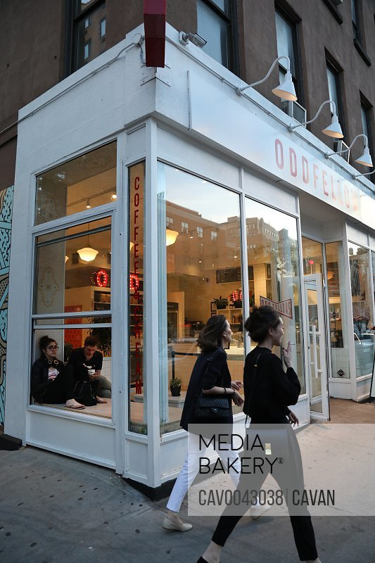 Oddfellows Café, Women, Coffee, Ice Cream, Nolita, Manhattan, New York<br><br><span style='color: red'>Editorial Use Only.</span><br><br>