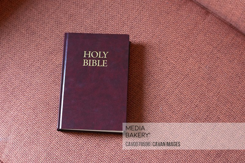 Holy Bible on coral colored chair in motel room