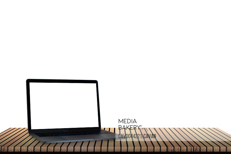 Laptop with blank screen isolated on white background, white alu