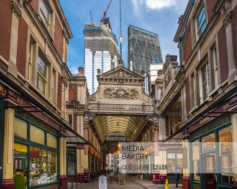 Leadenhall market entrance at the city of London <br><br><span style='color: red'>Editorial Use Only.</span><br><br>