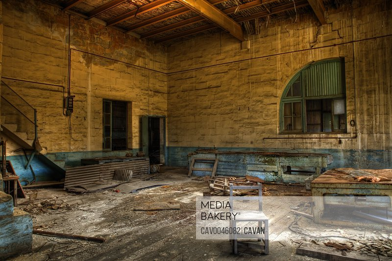 Derelict abandoned Chinese sweat shop