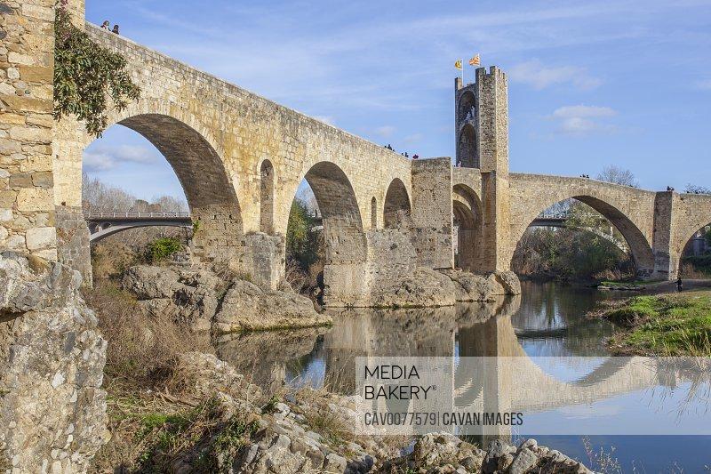 Medieval bridge of Besalu. Catalonia, Spain