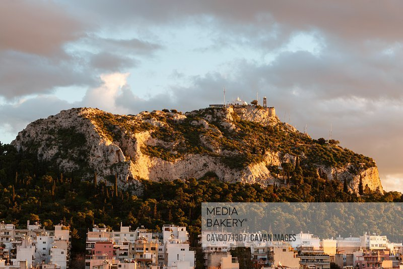 View of Lycabettus hill from Strefi hill in Exarchia, Greece.