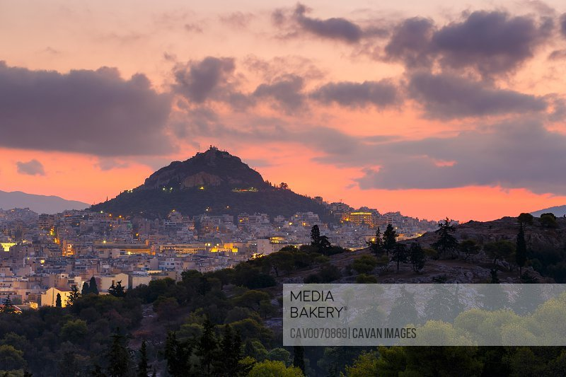 Lycabettus hill and view of the city of Athens, Greece.