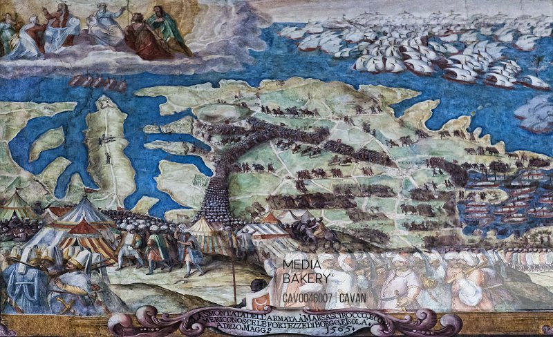The Great Siege of Malta 1565 Fresco at Grandmaster's Palace