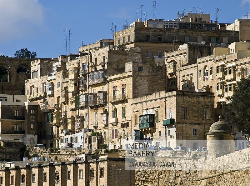 Valletta Buildings with wooden balconies overlooking Grand Harbour
