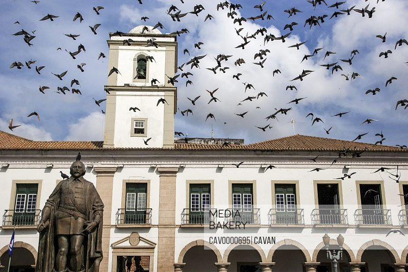 Brazil. Salvador, Bahia. The Municipal Chamber of Salvador, built in the 17th century. Municipal Square<br><br><span style='color: red'>Editorial Use Only.</span><br><br>