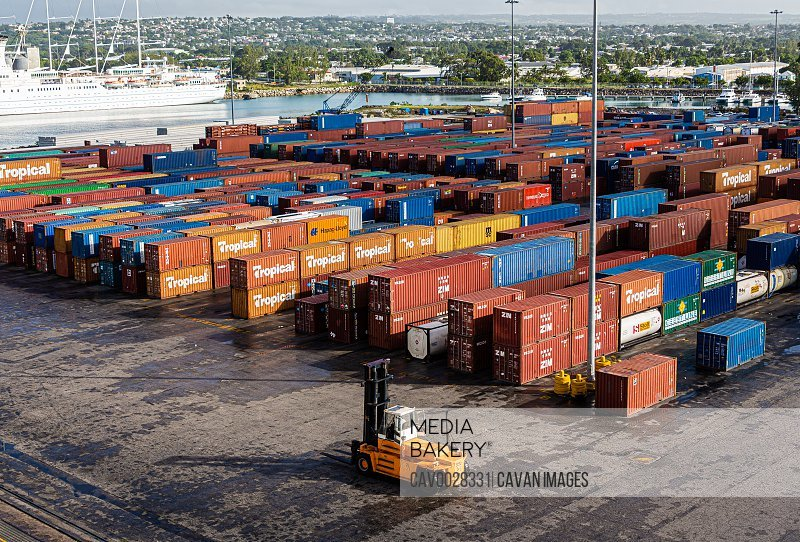 Freight Yard in Barbados<br><br><span style='color: red'>Editorial Use Only.</span><br><br>