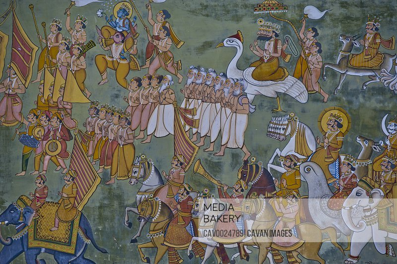 Historical wall painting from the Rajput empire age