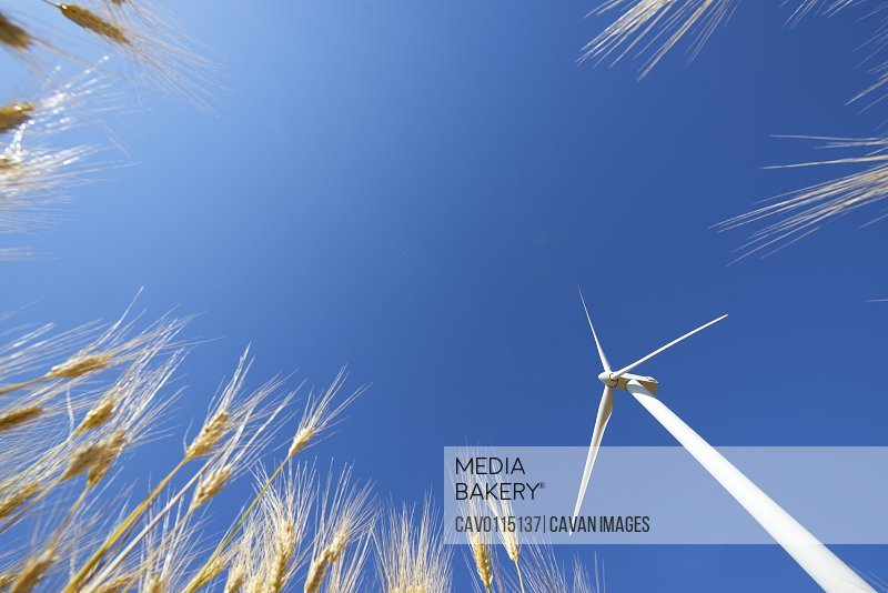 Windmill for electric power production, Zaragoza province, Aragon in Spain.