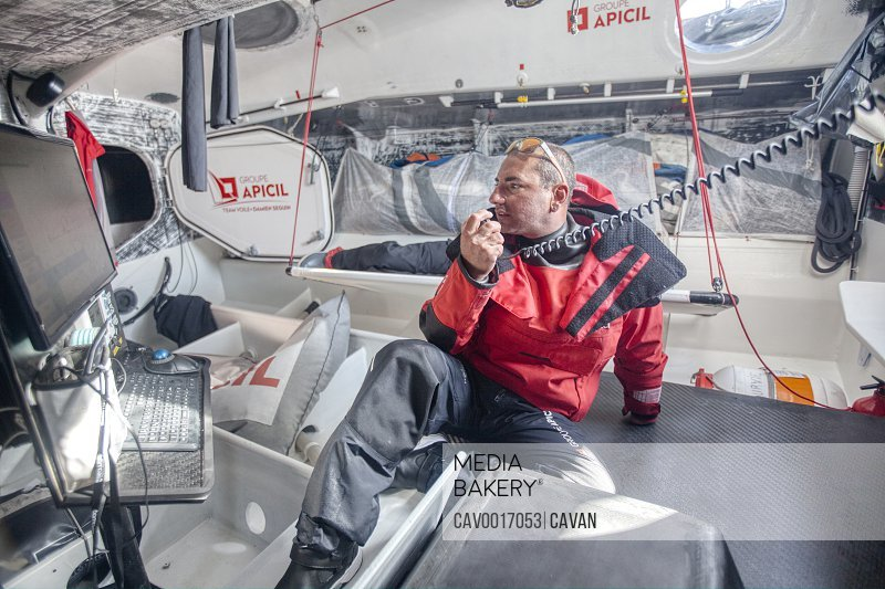 Onboard the IMOCA 60 Groupe Apicil with skippers: Damien Seguin and Yoann Richomme during the 48 hours race Le Défi Azimut. Lorient, Morbihan, Brittany, France. <br><br><span style='color: red'>Editorial Use Only.</span><br><br>