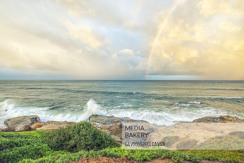 Coastal morning with a rainbow in La Jolla, California.